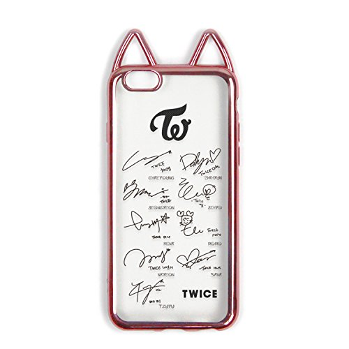 fanstown Krop galvanisiert Rosa Rahmen Transparent Silikon Gummi Korean Style Cute Cat Ohr Idol Signature iPhone 6/6S Fall, Twice (Koreanische Iphone 6 Fall)