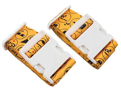 Reise24 Koffergurt Emoji Design 96 - 180cm Gepäckband Kofferband Einstellbar leichte Wiedererkennung (Duo)