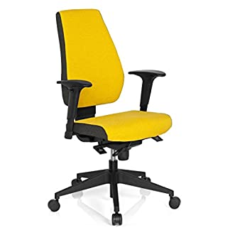 hjh OFFICE 608820 PRO-TEC 500 – Silla giratoria de oficina, tejido de color marengo y curry