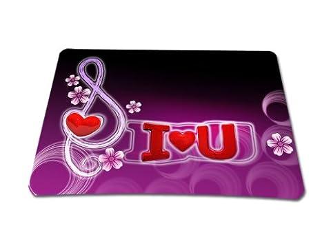 wortek Mauspad Standard Größe aus Neopren mit schönem Design und gummierter Unterseite - I Love U Schwarz Lila