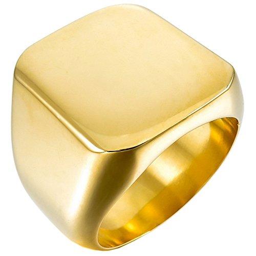 UM Schmuck Herren Edelstahl Motorradfahrer Signet Ring engravable schwer Poliert, Gold plattiert