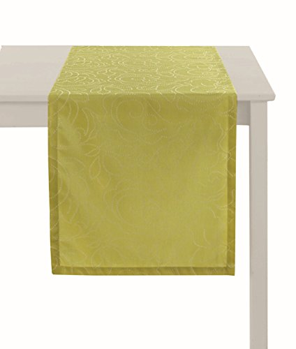 (APELT CAMPO_48x170_40 Tischläufer Basic Uni, grün/lime)