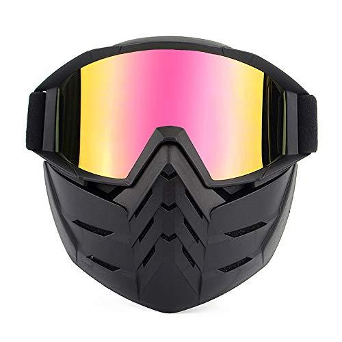 GBY Snowboard-Skibrille Snowboardbrille Motorradbrille mit Abnehmbarer Maske Airsoft Schutzbrille Winddicht Antibeschlag-UV-Schutz Brille, Polykarbonat, 1, Einheitsgröße