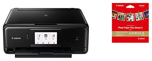 Canon PIXMA TS8050 Tinten-Multifunktionsgerät (WLAN / NFC, Drucken, Scannen, Kopieren, Print App, Duplex, 6 separate Tintentanks) schwarz – inkl. Canon PP-201 Fotoglanzpapier Plus II 13 x 13 cm 20 Blatt