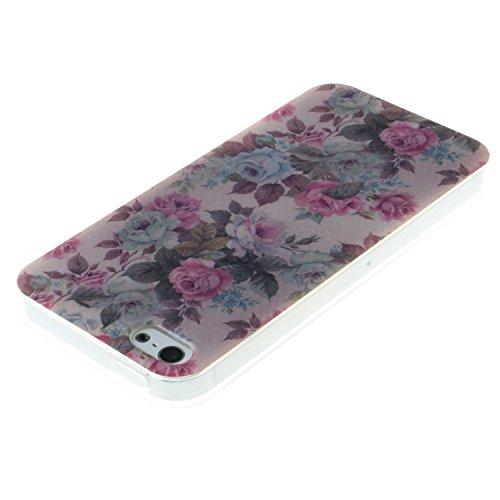 iPhone SE Coque, MOONCASE iPhone 5S Cover Case Fit Soft Silicone Housse avec Coque de Protection en TPU Etui pour iPhone SE / 5S / 5 - DD10 Série Colore - DD18
