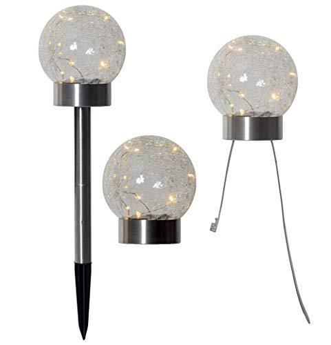 LED Solar Kugel 3 in 1 Gartenstab Tischlicht Draht Lichterkette Crash Glaskugel