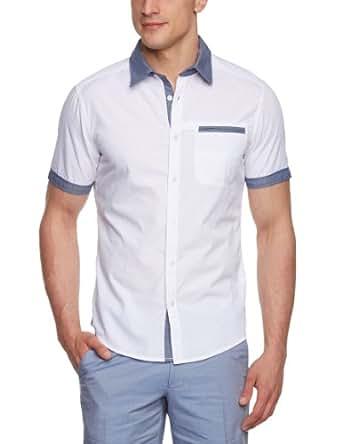 ESPRIT Herren Freizeithemd Slim Fit 063EE2F025, Gr. 46 (S), Weiß (100 white)