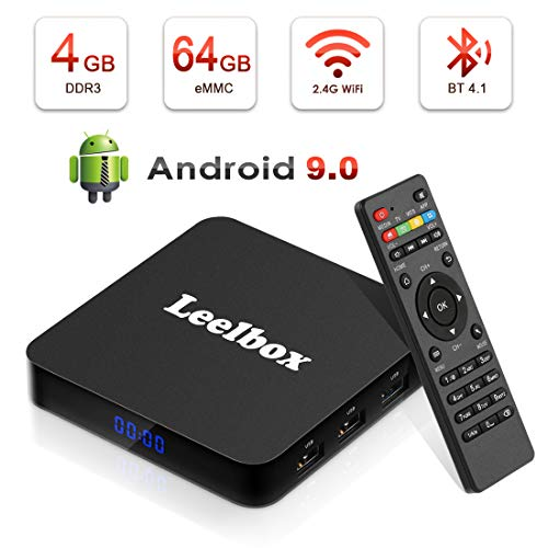 Android 9.0 TV Box - Leelbox Smart TV Box Q4 Plus 4 GB RAM & 64 GB ROM, Quad Core 64 bit Android Box Wi-Fi integrato/BT 4.1/ Box TV UHD 4K TV/USB 3.0 Media Player, Android Set-top-Box