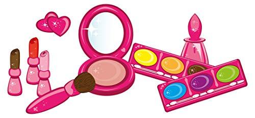 Wandtattoo Beauty Schminkset Mädchen in Pink Wandsticker Wanddeko Kinderzimmer