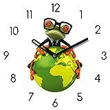 Eurographics Wanduhr aus Glas mit Tischaufsteller, Business Frog I, Frosch auf Erdball, grün, weiß, 20x20 cm