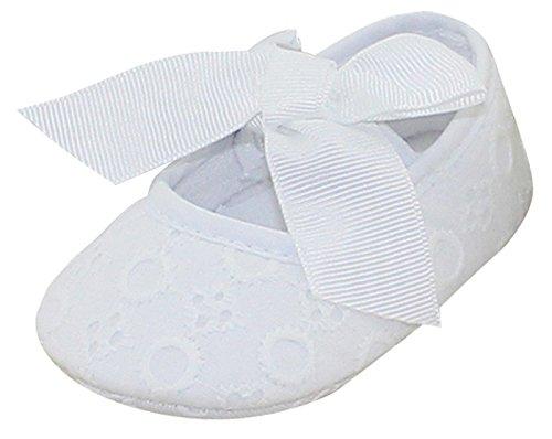 AIVTALK Neugeborene Baby Mädchen Lauflernschuhe Weiche Sohle Bowknot Schuhe Gestickte Blume Prewalker Turnschuhe für Baby Neugeborene 6-12 Monate (Weiß Gestickte Hinweis)