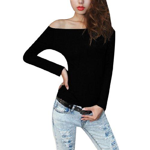 Allegra K Femme Épaule Découverte Haut T-shirt Manches Longues Fin Correspond À T-shirt Automne Haut Noir