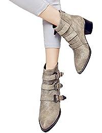 09922c7bbbe4d Mujer Invierno Moda Calentar Botas JiaMeng Hebilla de cinturón de Moda  Zapatos de tacón Alto Volver