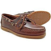 Pielsa 1433 Naútico Nautimoc - Naútico de piel color marrón y piso de goma para hombre