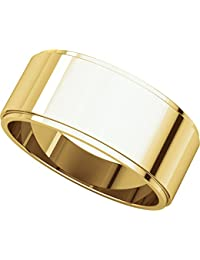 9ct Yellow Gold, Flat Edged Wedding Band 8MM (sz H to Z5)