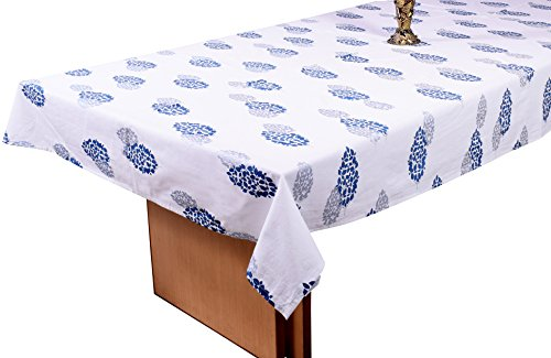 Miyanbazaz textiles 100% cotton leaf print 6 seater dining table cover (blue&silver 60