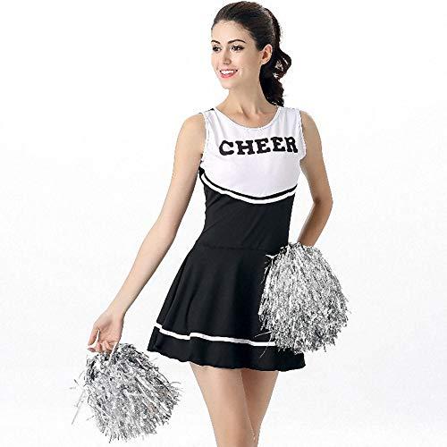 Cheerleading Kostüm Billig - XSH Frauen Cheerleading Uniformen Spiel Rollenspiele Erwachsene Damen Sexy Baby Cheerleading Kostüme,Schwarz,M