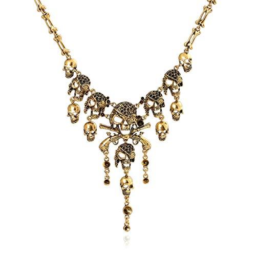 (VUKUB Frauen Blutherz Tassel Halskette Punk Schädel Halskette Party Gothic Schmuck Rote Kristall-Halskette Für Frauen,Gold)