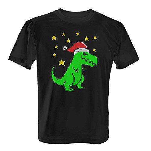 Fashionalarm Herren T-Shirt - Christmas T-Rex | Fun Shirt als Geschenk Idee Weihnachten Heiligabend Nikolaus Schwarz
