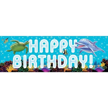 Ocean Party Spruchband Happy Birthday, groß (Wedding Pink Bells)