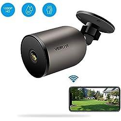 Veroyi Caméra de Surveillance extérieure 1080P WiFi IP Caméra de Surveillance à Domicile avec Audio bidirectionnel, IP66 étanche, Vision Nocturne, détection de Mouvement