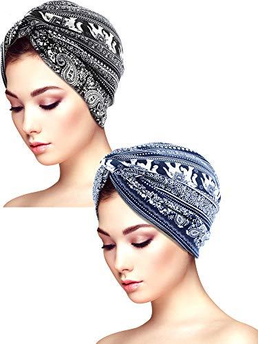 Yaomiao 2 Stücke Schlaf Weichen Turban Kappen Gedruckt Turban Hut Schlaf Hut Headwears für Damen (Farbe Satz 3)