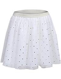ShopperTree White Polyester Dot Printed Skirt for Girl's