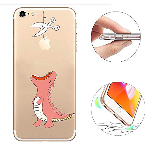 iPhone 6S Plus 6 Plus 5.5 Zoll Hülle, KeKeYM Soft Weich Flexibel TPU Gel Rubber Skin Transparente Rückseitenabdeckung Ultra Schlank Clear Tier Gemalte Muster Shock-Absorption Drop Schutz Thin Fit für iPhone 6S Plus 6 Plus - Rosa Dinosaurier