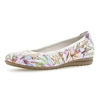 Gabor Damen Ballerinas 22.620.20, Frauen Flats,Sommerschuh,klassisch elegant,Weiss/Multicolor,39 EU / 6 UK