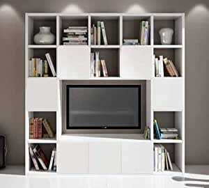 wohnwand tv b cherregal wei esche 20 elemente 7 antine k che haushalt. Black Bedroom Furniture Sets. Home Design Ideas