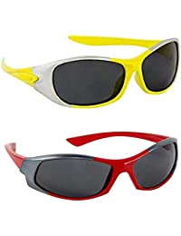 Dervin Kid's Goggles Wrap Around Boy's and Girl's Sports Sunglasses - Combo of 2 (3-6 Years, Yellow, Red)