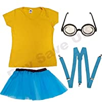 Ladies Yellow T Shirt, Blue Tutu Skirt, Blue Braces & Goggles Glasses Fancy Dress Costume (Women: 16)