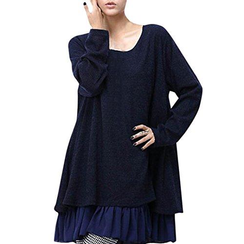 DOLDOA Damen Kleider, Frauen Rundhals lange Ärmel Bogen Bluse Tops (EU: 48 Fehlschlag: 108cm / 42.5