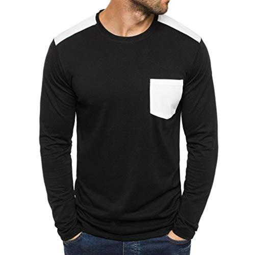 Luckycat Männer Casual Solide Patchwork Tasche Langarm Tops Bluse Mode 2018