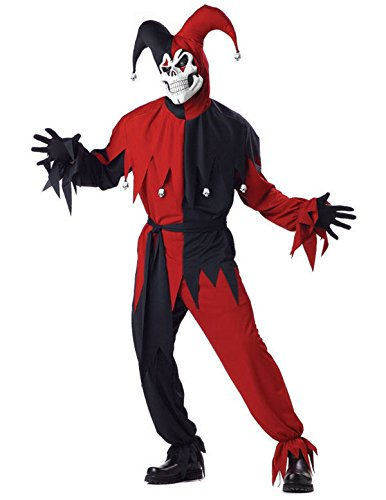 Horror Hofnarr Rot Kostüm Clown Halloween Karneval Verkleidung Herren Medium (Clown Outfit Halloween)