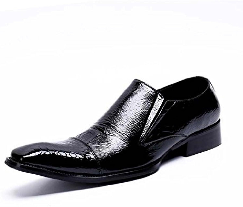 Winklepicker zapatos casuales de cuero de los hombres de los hombres de la bomba de punta cuadrada color puro... -