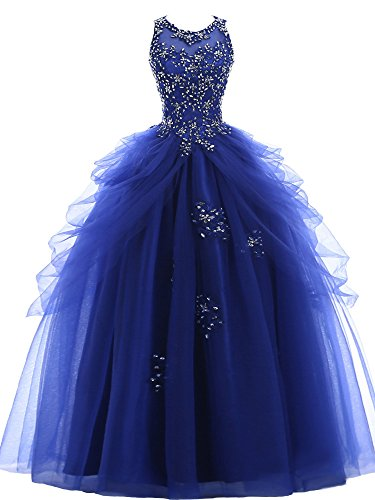 NUOJIA Prinzessin Quinceanera Kleider Tüll Ballkleider Lang Festkleid Königsblau 44