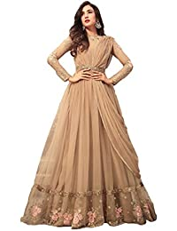 Viha Women's Heavy Net Embroidered Cream Semi-stitched Anarkali Salwar Suit