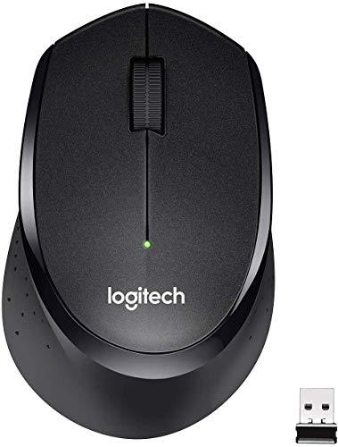 Logitech M330 Silent Plus Kabellose Maus, 2.4 GHz Verbindung via Nano USB-Empfänger, 1000 DPI Optischer Sensor, 24-Monate Akkulaufzeit, 3 Tasten, PC/Mac - schwarz, Englische Verpackung