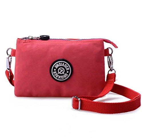 Damen-Handtasche von Tiny Chou, 3 Reißverschlussfächer, wasserfestes Nylon, mit Schulterriemen, Pink - rose - Größe: Small (3-licht 16)