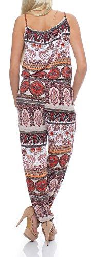 malito Damen Einteiler mit Print | Overall mit Trägern | schulterfreier Jumpsuit �?Hosenanzug J-99931 Rot