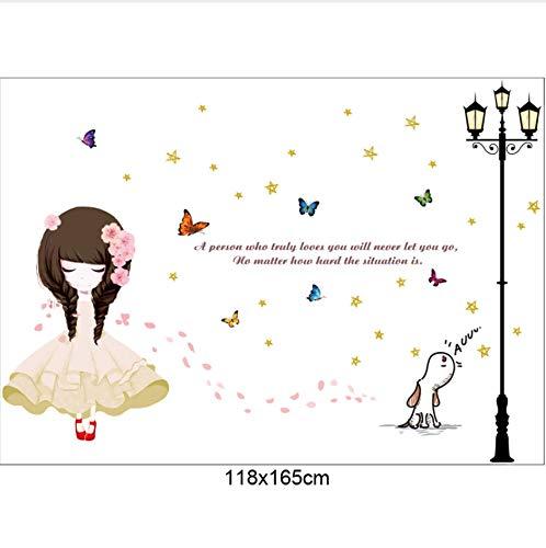 DAIHNZWC Schönes Mädchen Unter Der Straße Wand Aufkleber Kind Mädchen Zimmer Schlafzimmer Kunst Decals Vinyl Home Wandbilder Kinderzimmer Dekoration