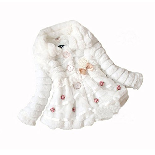 Gaorui Babys Mädchen Princess Kunstfell Fleece Jacke Winter Mantel Jacket Hoodie elegant Party Pelzjacket