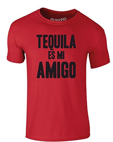 Brand88 - Tequila es mi Amigo, Erwachsene Gedrucktes T-Shirt Rote/Schwarz
