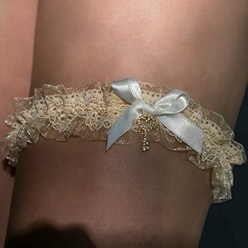 Giarrettiera di pizzo nozze matrimonio sposa biancheria intima regali de nozze blanco beige ivorio chiave