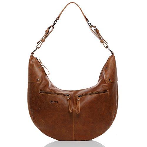 BACCINI Borsa a tracolla SIENNA - Borsa in cuoio con manico a spalla - borsa a spalla vera pelle marrone lucido (45 x 29 x 5 cm)