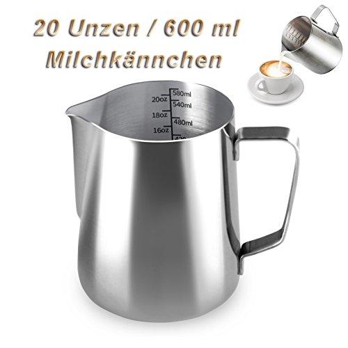 600ml Milchkännchen aus Edelstahl, 20 oz. Milchschaumkännchen Ideal für Cappuccino und Latte Macchiato, mit Skalas Zum Aufschäumen, Silber 丨1 Jahren GARANTIE