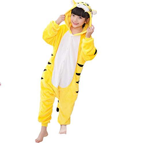 Z-Chen - Kinder Pyjama Strampler Schlafanzug Tier Kostüm für Halloween Karneval Fasching, Tiger Kostüm, Gr. 128/134 (Herstellergröße 115/130)