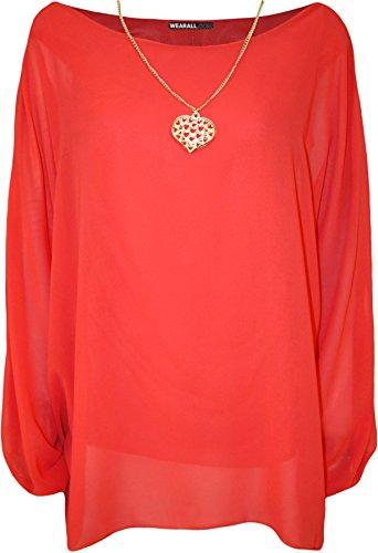 WearAll - Grande taille mousseline doublé collier haut top à manches chauve-souris - Hauts - Femmes - Tailles 42 à 48 Corail