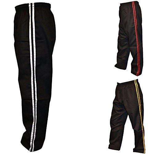 TurnerMAX Erwachsenen Kampfsporthose, Polycotton, seitliche Steifen, Schwarz/Weiß schwarz schwarz 190 cm